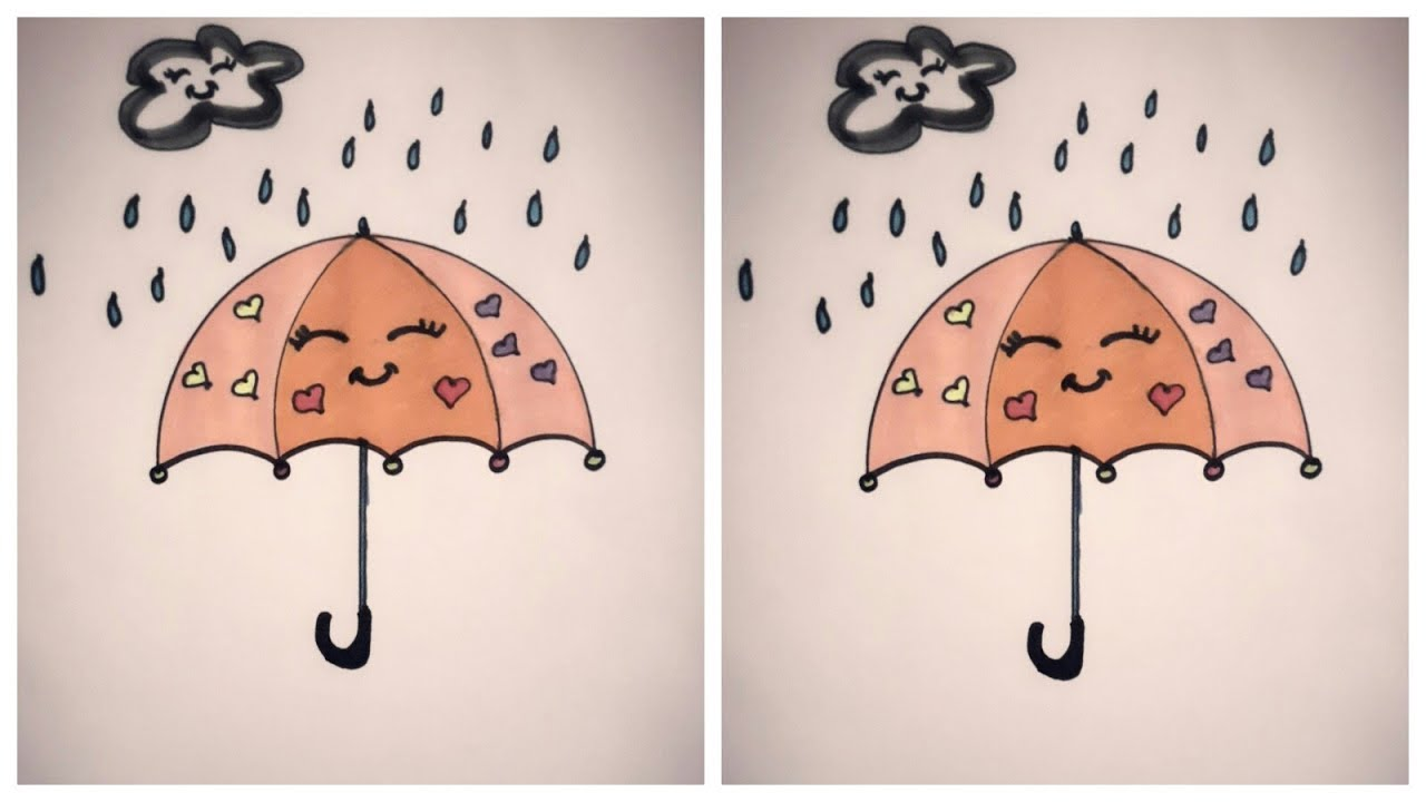 024e3fb86 كيفية رسم شمسية/تعليم الرسم للأطفالHow to draw an umbrella cute and easy