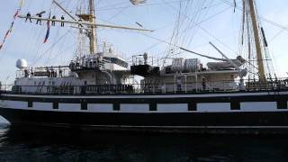 Russian Training Sailing Ship Pallada Leaving Port of Seattle