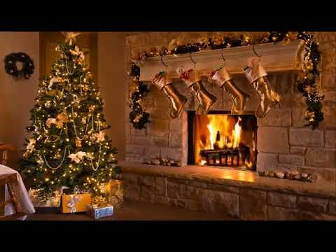 Best Relaxing Christmas Music with a Christmas tree and Fireplace