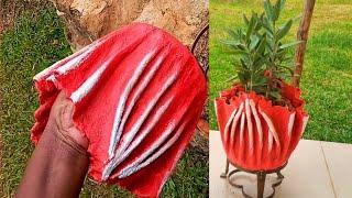 Fresh idea for Cement Pot using Cloth