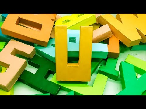 "Origami 3D Alphabet Letters ""U"" Making by Paper 