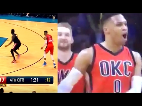 Russell Westbrook BREAKS Al-Farouq Aminu's Ankles with Crossover, Yells