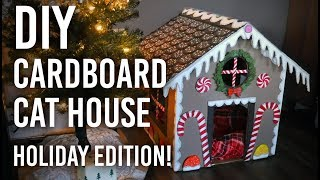 How to Make a Festive Cat House out of Cardboard!  Holiday Gingerbread House Edition