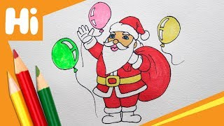 How to draw Santa Claus and Balloons for kids