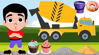 Menyusun Puzzle Truk Molen Semen – Kartun Anak Memperbaiki Tembok Rumah dengan Semen, Pasir dan Air