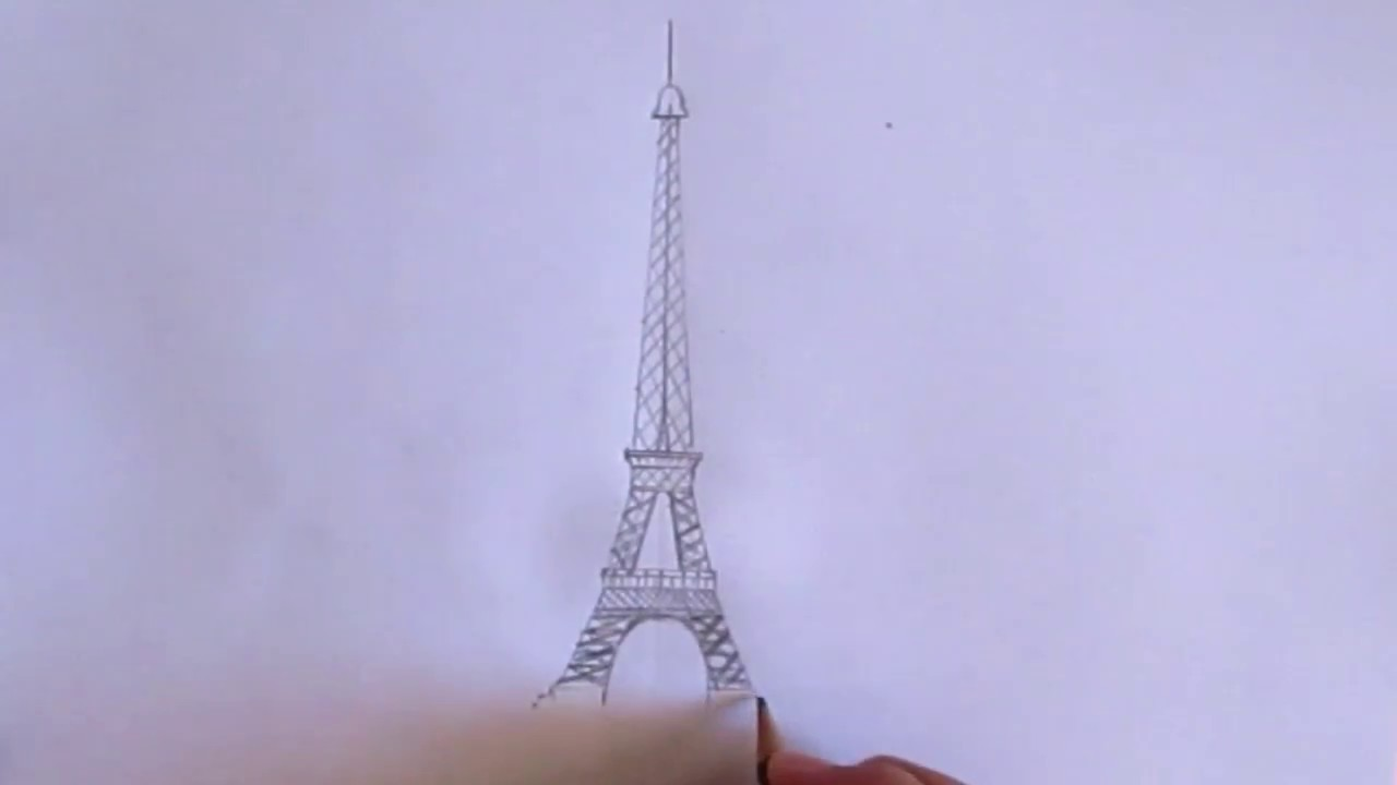 How To Draw Eiffel Tower Paris Pencil Drawing Youtube