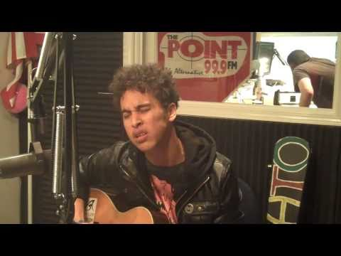Damato in the 99.9 The Point studio performing
