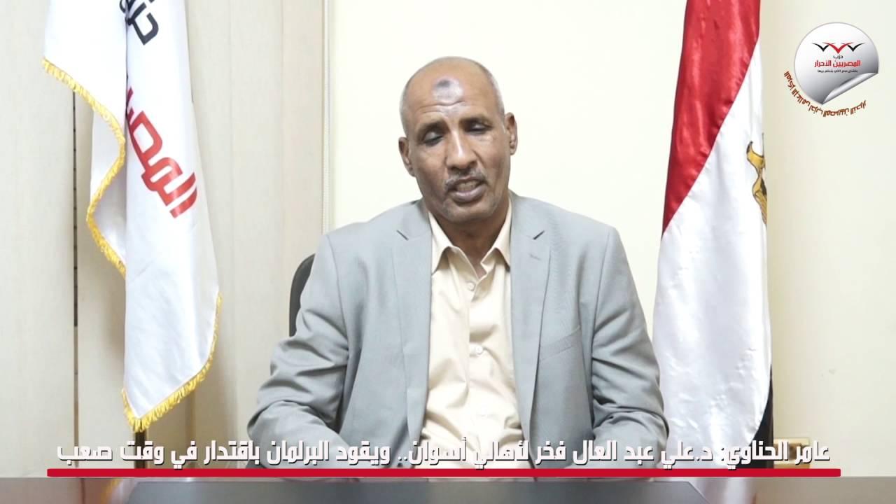 عامر الحناوي: د.علي عبد العال فخر لأهالي أسوان.. ويقود البرلمان باقتدار في وقت صعب