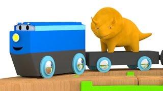 Lerne Farben mit dem Zug und Dino dem Dinosaurier | Lehrreiche Cartoons für Kinder und Kleinkinder