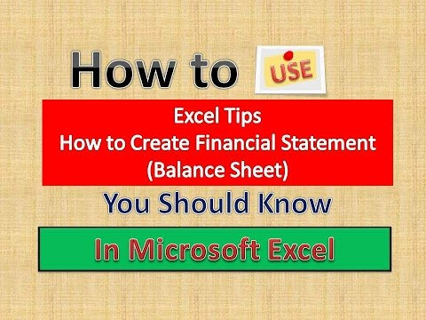 Excel Tips How To Create Balance Sheet In Microsoft Excel English