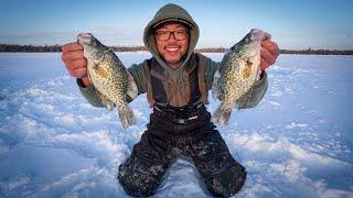 HIDDEN Backwoods Crappie Ice Fishing! (MEGA SCHOOL)