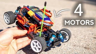 Installing 4 MOTORS in a SMALL RC CAR!