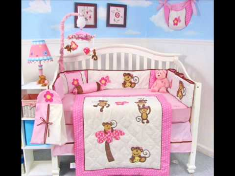 SoHo Pink Monkey Party Baby Crib ; Monkey Crib Bedding Set, New Baby Bedding