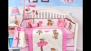 Soho Pink Monkey Party Baby Crib ; Monkey Crib Bedding Set, New Baby Bedding