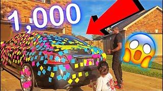 1,000 STICKY NOTES ON BOYFRIEND CAR PRANK !!
