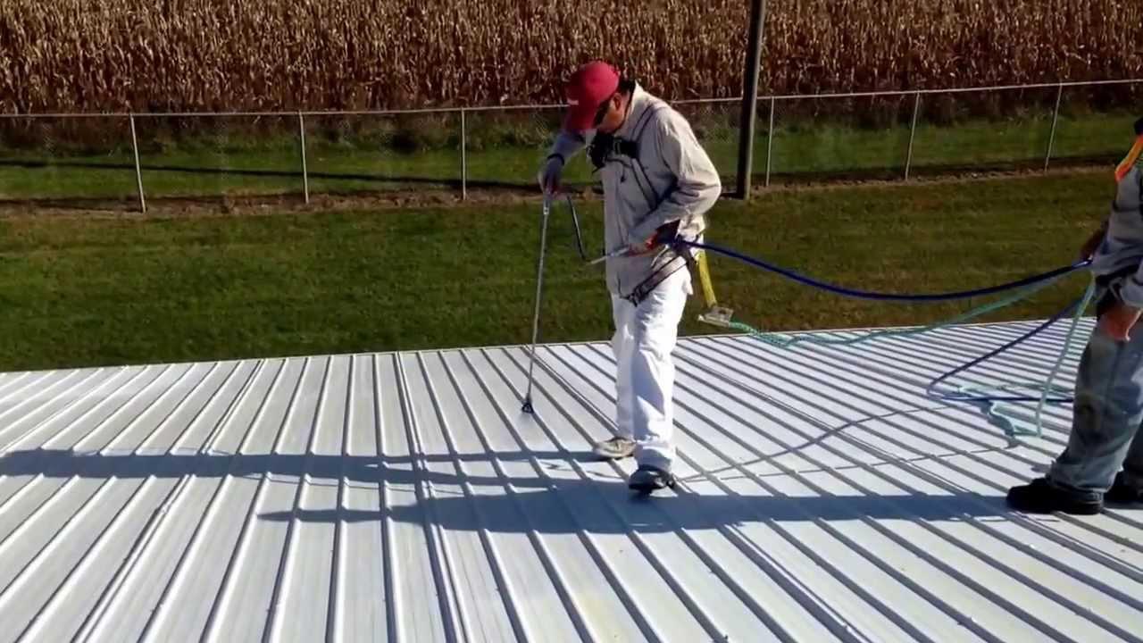 Charming Spraying Uniflex Elastimeric Base Coating Over Primed Metal Roofing.  Buckeye Roof Coating