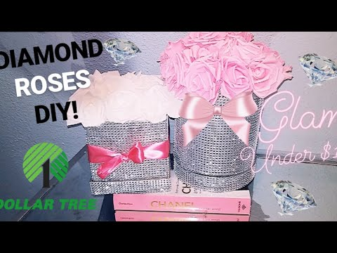DOLLAR TREE DIY: GLAM DIAMOND ROSE FOREVER FLOWER BOX CENTERPIECE | CHEAP UNDER $15 DECOR HACK!