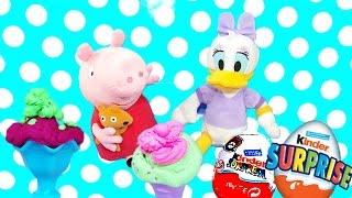Come fare il gelato con Peppa pig ITA e Paperina Pongo play doh creazioni Ovetti Kinder