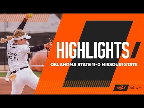 Maxwell No-No   Oklahoma State 11-0 Missouri State   Cowgirl Softball Highlights from YouTube · Duration:  2 minutes 25 seconds