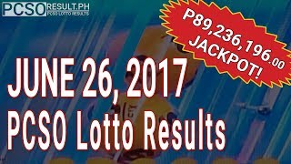 Lotto Result June 26, 2017 (6/55, 6/45, 4D, Swertres & EZ2)