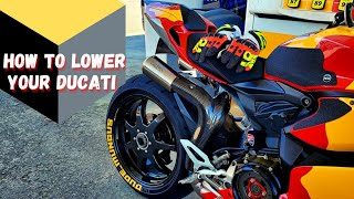 How To : Install Lowering link Ducati Panigale 899 / 959 / 1199 / 1299 / V2