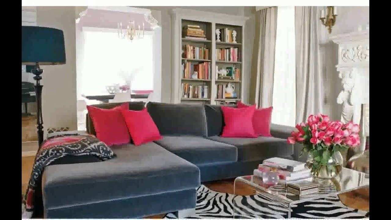 Grey blue living room ideas youtube for Grey and red living room ideas