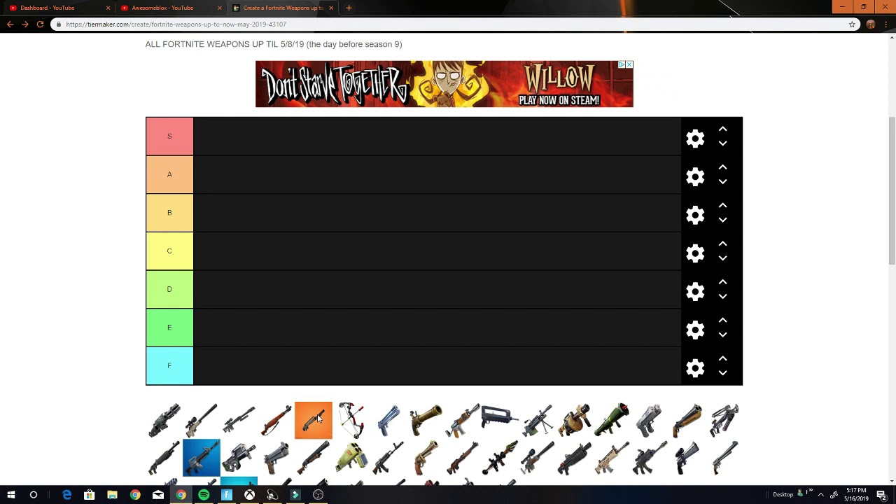 my tier list for fortnite guns