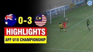 Highlights: U18 Australia 0 - 3 U18 Malaysia | AFF U18 Championship 2019 Full HD | Group B