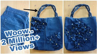 Convert Old Jeans Into A beautiful Handbag | DIY | Best Out Of Waste