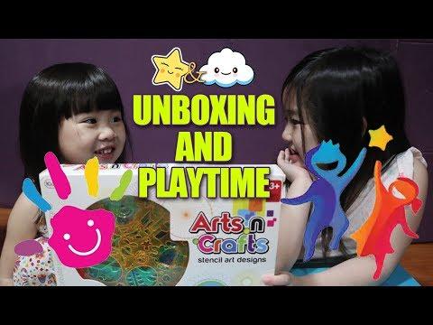 kidshop-arts-n-crafts-stencil-art-design-unboxing-and-playtime