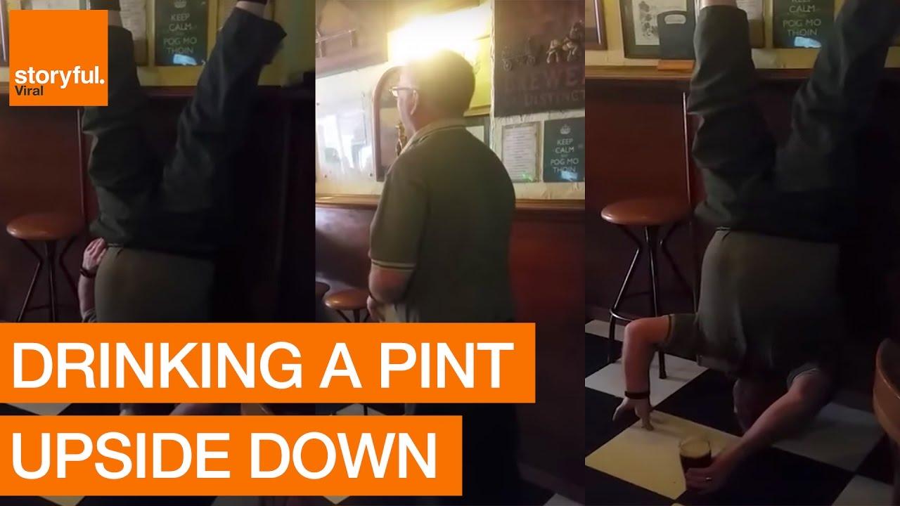 Сент Патрик предизвик: Пиење пиво додека стоиш на глава