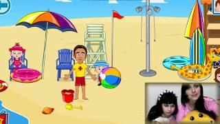 СМЕШНОЕ ВИДЕО на пляже как МАМА БЕРЕМЕННА  для детей KIDS CHILDREN My town игровой мультик