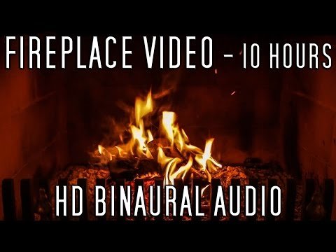 10 hours video of wood burning in a fireplace with relaxing crackling sounds