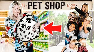 Spying on my PARENTS at the Pet Store!?! WE GOT new PETS for our Large Family!?!