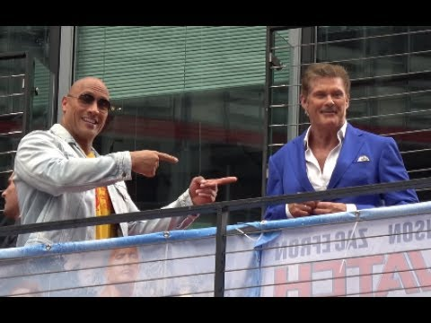 "Baywatch European Premiere Berlin | Dwayne ""The Rock"" Johnsen,David Hasselhoff"
