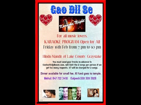 Gao Dil Se Karaoke Night Hindu Mandir of Grayslake