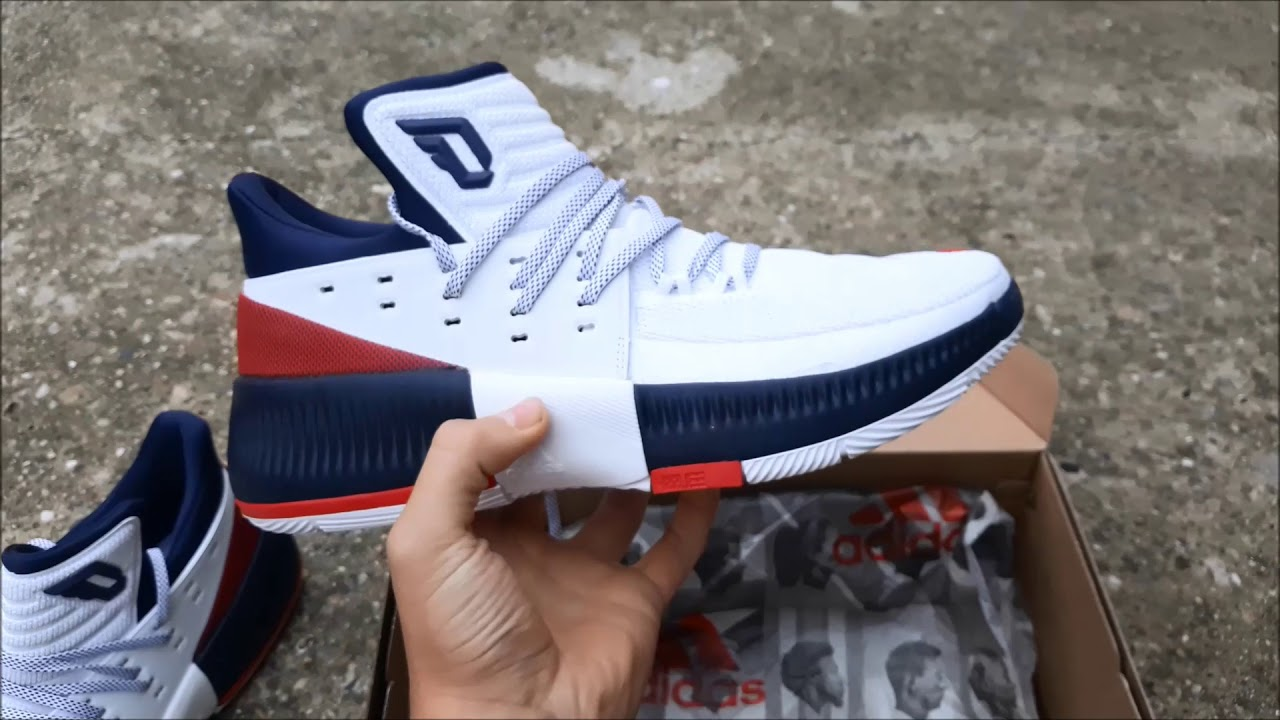 the latest b6ac7 b1551 Adidas D. Lillard 3 WhiteNavy Detailed Review + On Feet Look