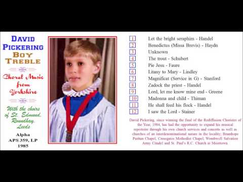 David Pickering, boy treble chorister, sings He shall feed his flock, 1985