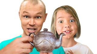 Шоколад и настоящее Челлендж Макс и папа с Катей