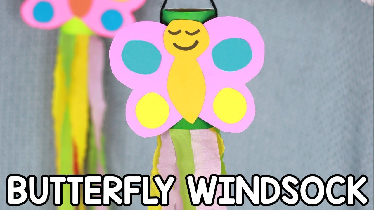 Toilet Paper Roll Windsock Butterfly Craft For Kids