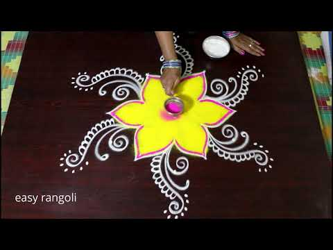 Latest Kolam designs with colors with 5x3 middle dots  || New rangoli designs || muggulu with colors