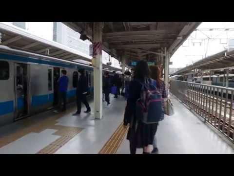 jr train ride shinjuku to sakuragicho(yokohama) tokyo jp saturday afternoon