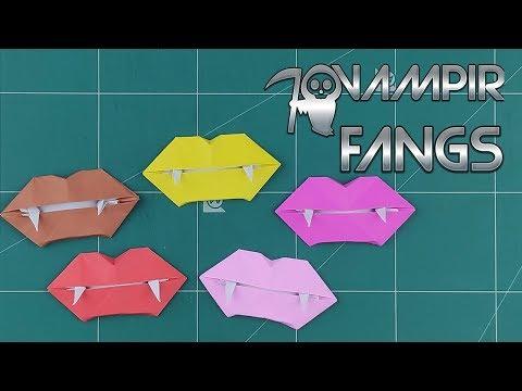 How to Make A Vampire Teeth Paper - Origami Halloween Vampire Fangs Tutorials | Diy Wearable Paper