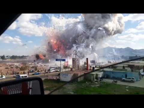 Dramatic video shows fireworks explosion at market in Tultepec, Mexico