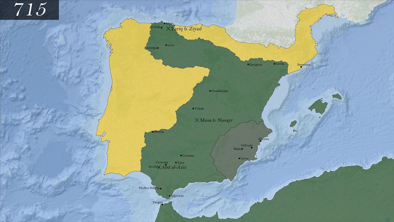 Map Of Spain 711.Campaigns Tariq B Ziyad In Spain 711