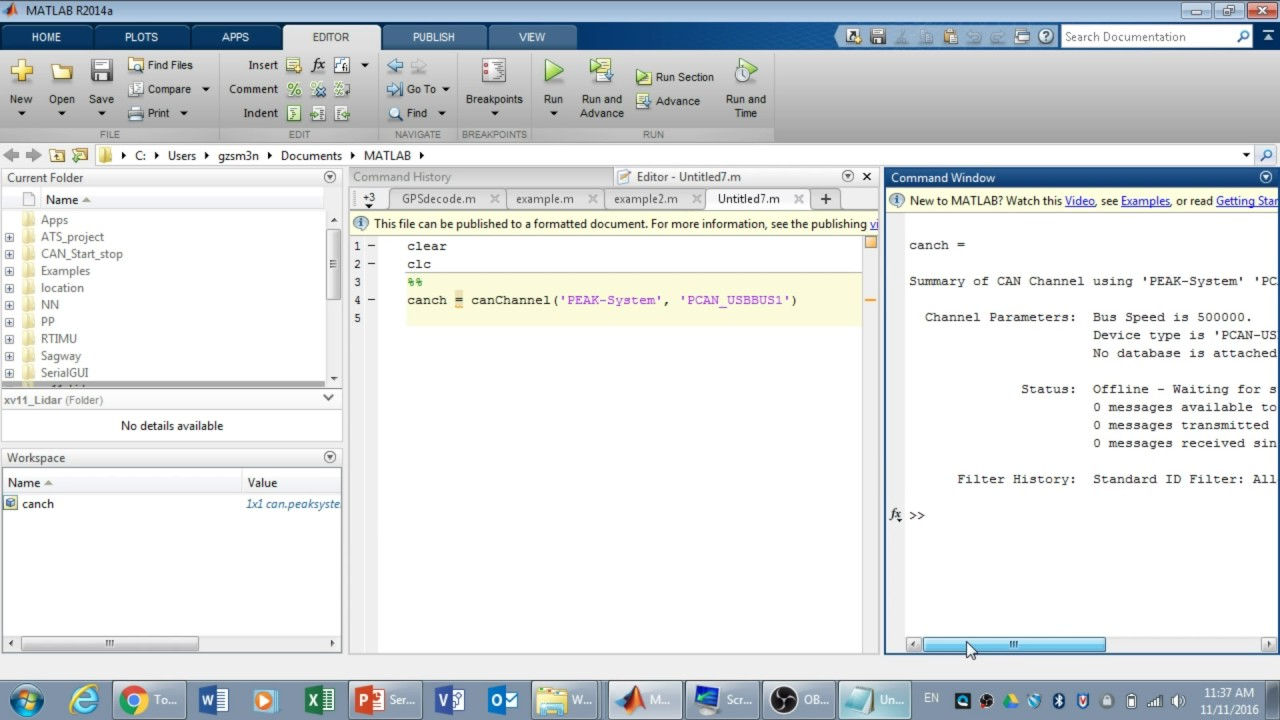 Serial Communication Decode CAN message with Matlab Part1