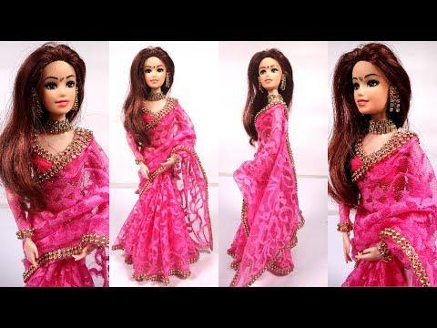 Gorgeous Barbie PINK NET SAREE Making| Beautiful Party Wear doll Dress| Stylish barbie saree draping