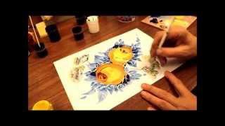 Рисуем розу темперой