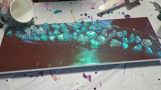 Mardi Gras Resin Pour on Holographic Paper