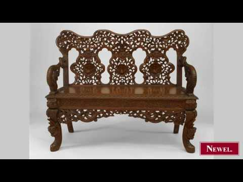 Antique Oriental Burmese style (19th Cent) carved teak